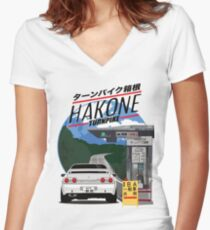 Hakone NISSAN Skyline R32 GTR Women's Fitted V-Neck T-Shirt