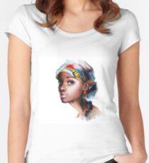 Afrikanerin Tailliertes Rundhals-Shirt