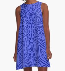 Blue Vector A-Line Dress