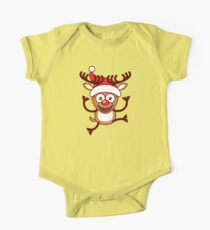 Cool Xmas Reindeer Wearing Santa Hat One Piece - Short Sleeve