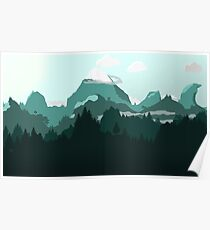 Flat Landscape With Mountains And Trees Poster
