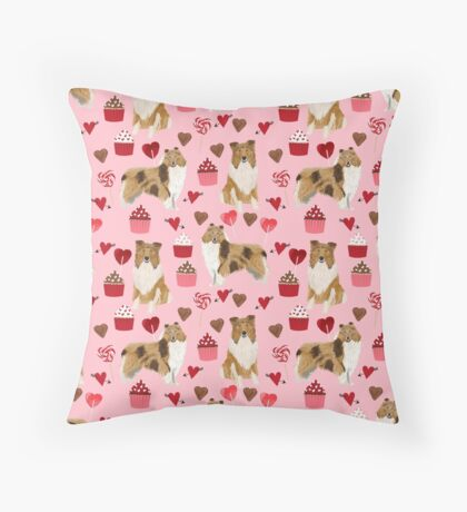 Rough Collie valentines day love cupcakes pattern dog breeds pet portraits for dog lover by PetFriendly Throw Pillow