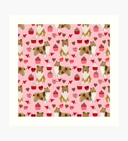 Rough Collie valentines day love cupcakes pattern dog breeds pet portraits for dog lover by PetFriendly Art Print
