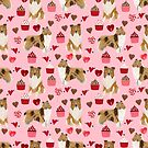 Rough Collie valentines day love cupcakes pattern dog breeds pet portraits for dog lover by PetFriendly by PetFriendly