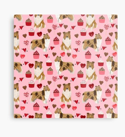 Rough Collie valentines day love cupcakes pattern dog breeds pet portraits for dog lover by PetFriendly Metal Print