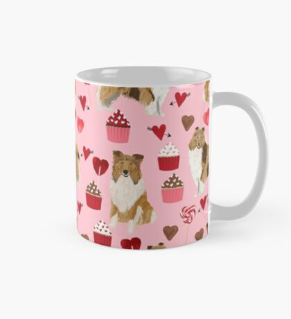 Rough Collie valentines day love cupcakes pattern dog breeds pet portraits for dog lover by PetFriendly Mug