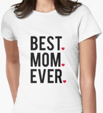 Best mom ever, word art, text design with red hearts  Women's Fitted T-Shirt