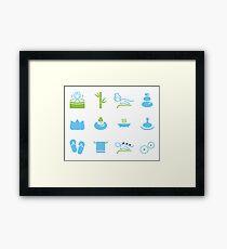 Hand-drawn cute wellness Icons Framed Print