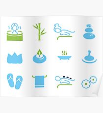 Hand-drawn cute wellness Icons Poster