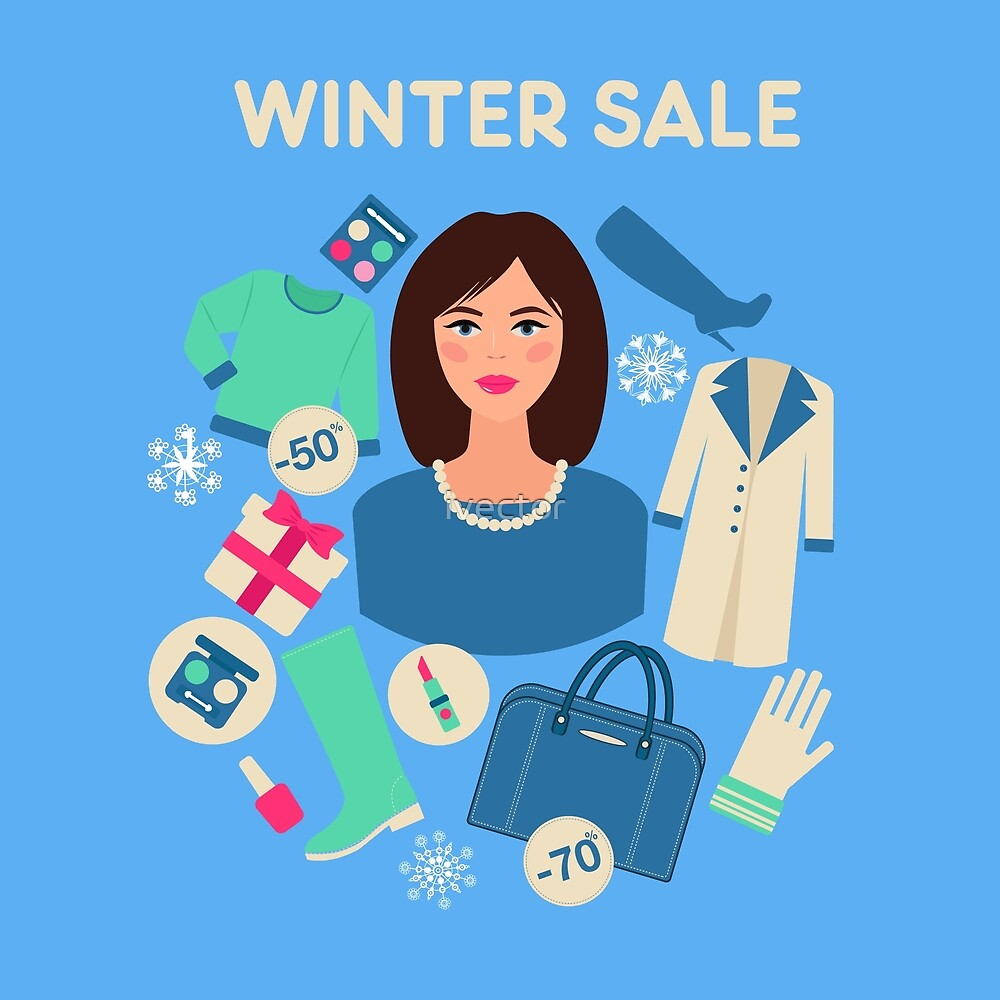 Shopping Winter Sale in Flat Design with Woman by ivector