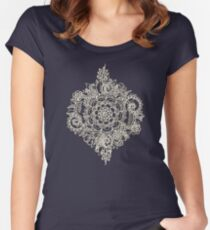 Cream Floral Moroccan Pattern on Deep Indigo Ink Women's Fitted Scoop T-Shirt