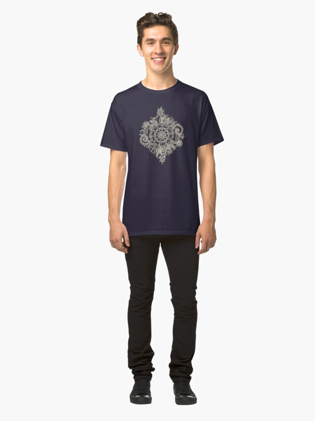 Alternate view of Cream Floral Moroccan Pattern on Deep Indigo Ink Classic T-Shirt