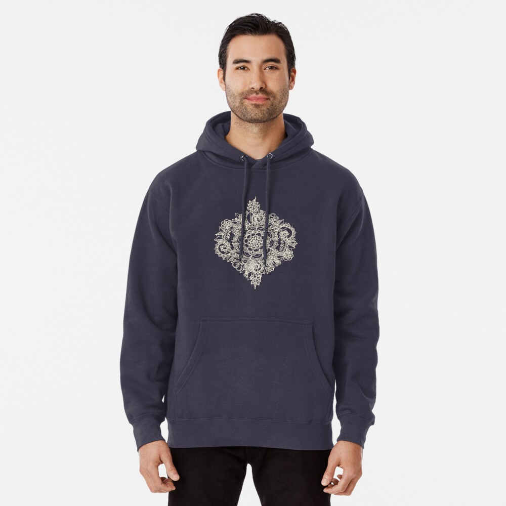 Cream Floral Moroccan Pattern on Deep Indigo Ink Pullover Hoodie
