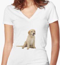 Cute Golden Retriever Women's Fitted V-Neck T-Shirt