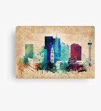 Vintage Denver Watercolor Skyline Canvas Print