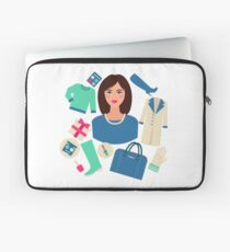 Shopping Winter in Flat Design with Woman Laptop Sleeve