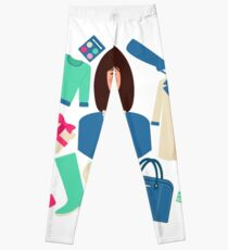 Shopping Winter in Flat Design with Woman Leggings