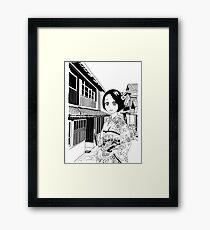 Kimono girl (manga style drawing) Framed Print