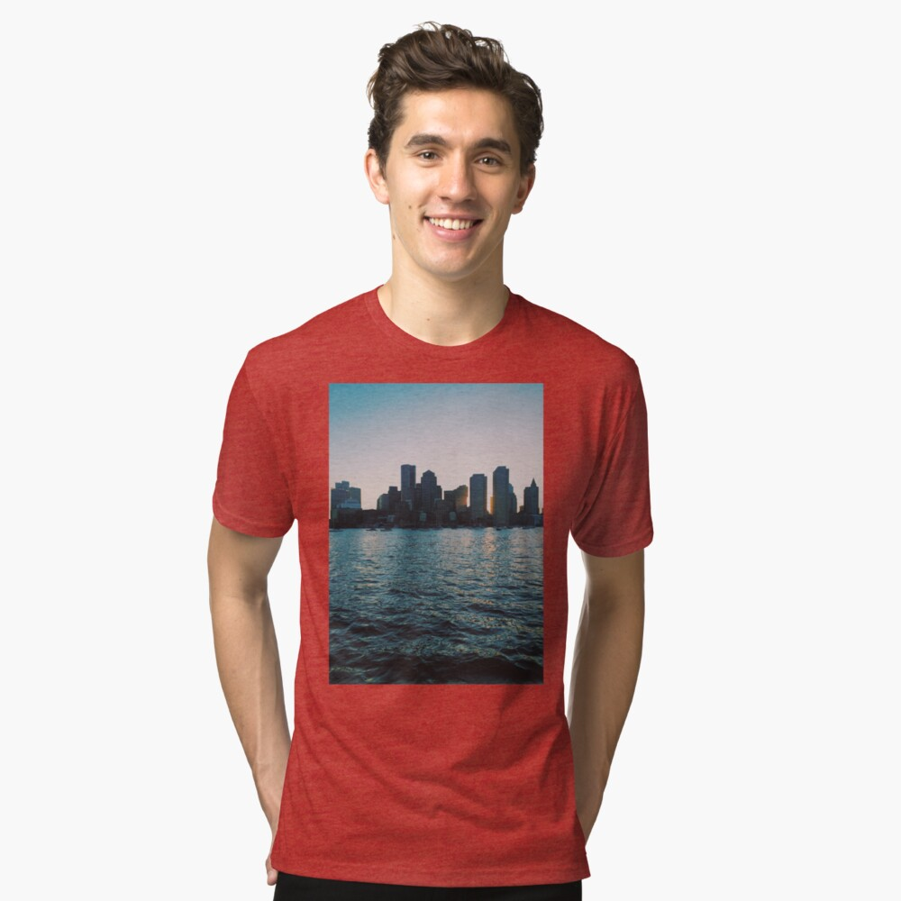 Sunset at harbour Tri-blend T-Shirt Front