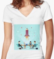 Business Project Startup Concept Design Women's Fitted V-Neck T-Shirt