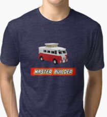 MicroBus Hippy Camper Van Master Builder Graphic for Expert Builders Tri-blend T-Shirt