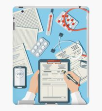Doctor's Workplace. Medical Doctor Working in Clinic iPad Case/Skin