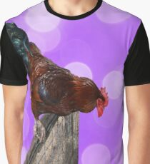 Brown Fluffy Rooster On A Fence With Sparkle Background Graphic T-Shirt