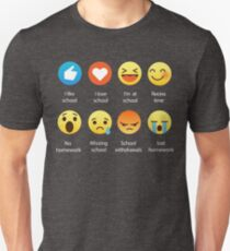 I Love School Emoji Emoticon Graphic Tee Funny Teacher Student Shirt T-Shirt