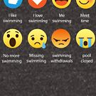I Love Swimming Emoji Emoticon Graphic Tee Funny 8 icons by DesIndie