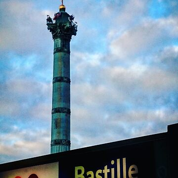 Bastille Monument and Metro Sign by PaulCoore