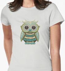 Star Eye Owl - Green 2 Womens Fitted T-Shirt