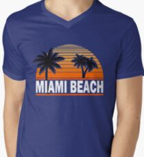 Miami Paradise Beach TShirt Maimi Beach Sun Sand T-Shirt Men's V-Neck T-Shirt
