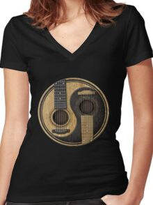 Bass Guitar T Shirt - Music Pulse, Notes, Clef, Frequency, Wave, Sound, Dance Women's Fitted V-Neck T-Shirt
