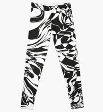 Abstract black and white illustration. Alice in wonderland texture with chess background.  Leggings