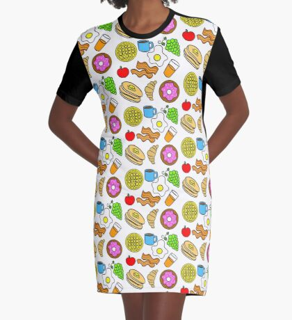 Colorful Breakfast Foods Graphic T-Shirt Dress