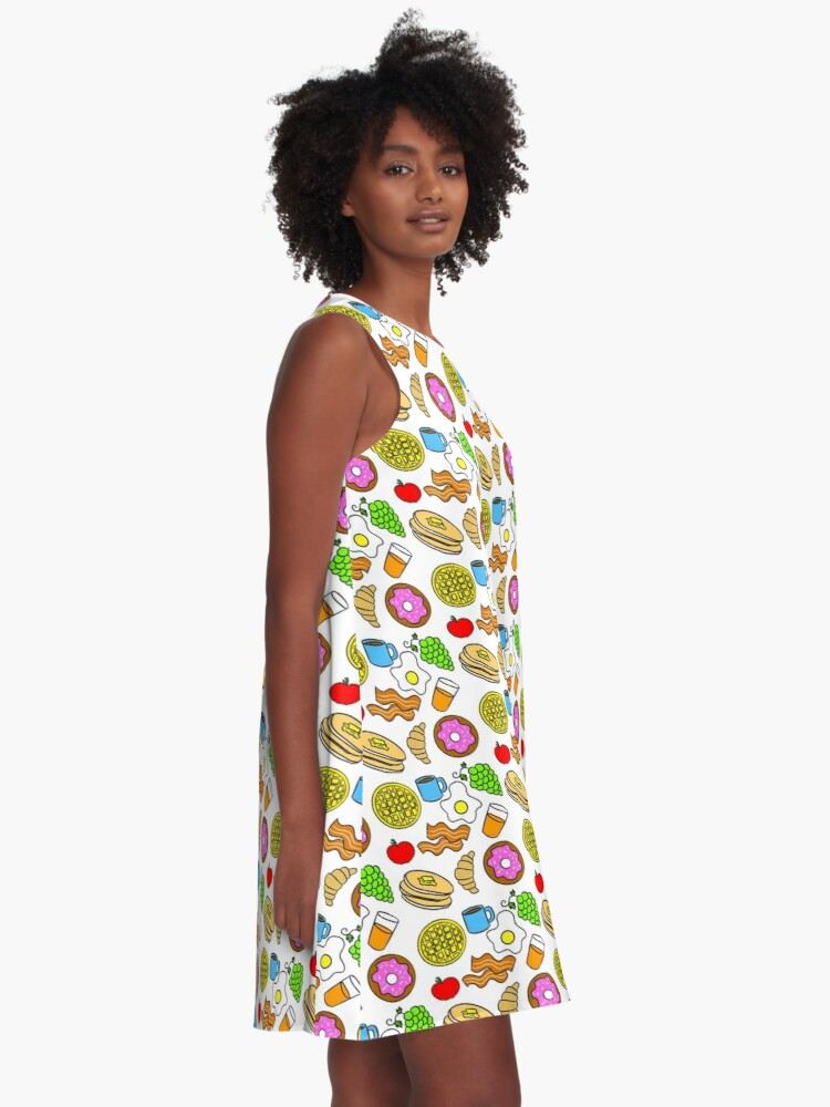 Alternate view of Colorful Breakfast Foods A-Line Dress