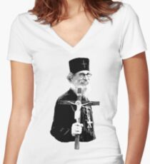 Brother Nathanael: Holding the Cross Women's Fitted V-Neck T-Shirt