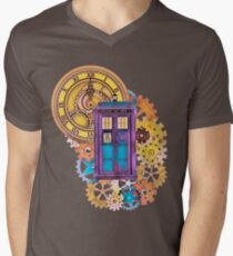 Colorful TARDIS Doctor Who Art Mens V-Neck T-Shirt