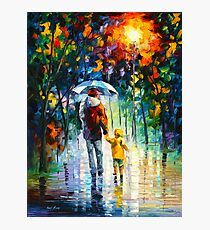 RAINY WALK WITH DADDY - Leonid Afremov Photographic Print