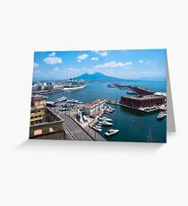 Naples landscape from above, view of Vesuvius, Italy Greeting Card