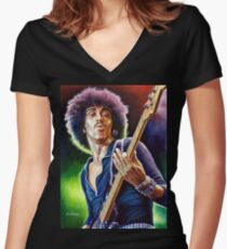 Lynott Thin Lizzy portrait painting Women's Fitted V-Neck T-Shirt
