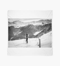 girl trekking with snowshoes in the wood Scarf