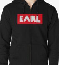 Earl Sweatshirt White on Red Zipped Hoodie