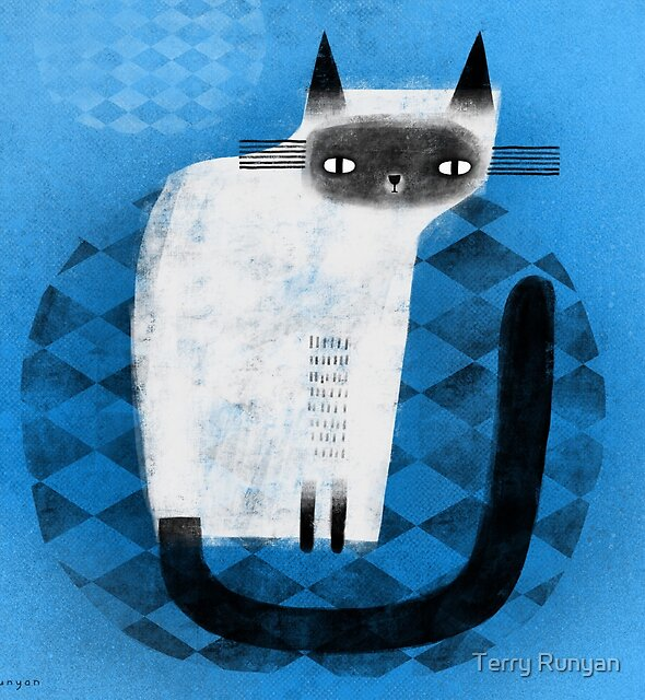 SIAMESE ON BLUE by Terry Runyan