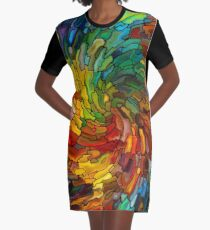 Stained GLass Colorful Graphic T-Shirt Dress