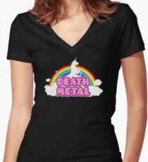 Unicorn Rainbow Death Metal Women's Fitted V-Neck T-Shirt