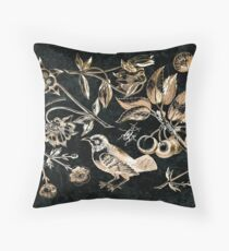 Golden set of birds, beetle, flowers and cherry fruit Throw Pillow