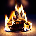 Burning Morris Minor Vintage Car by Mark Fearon