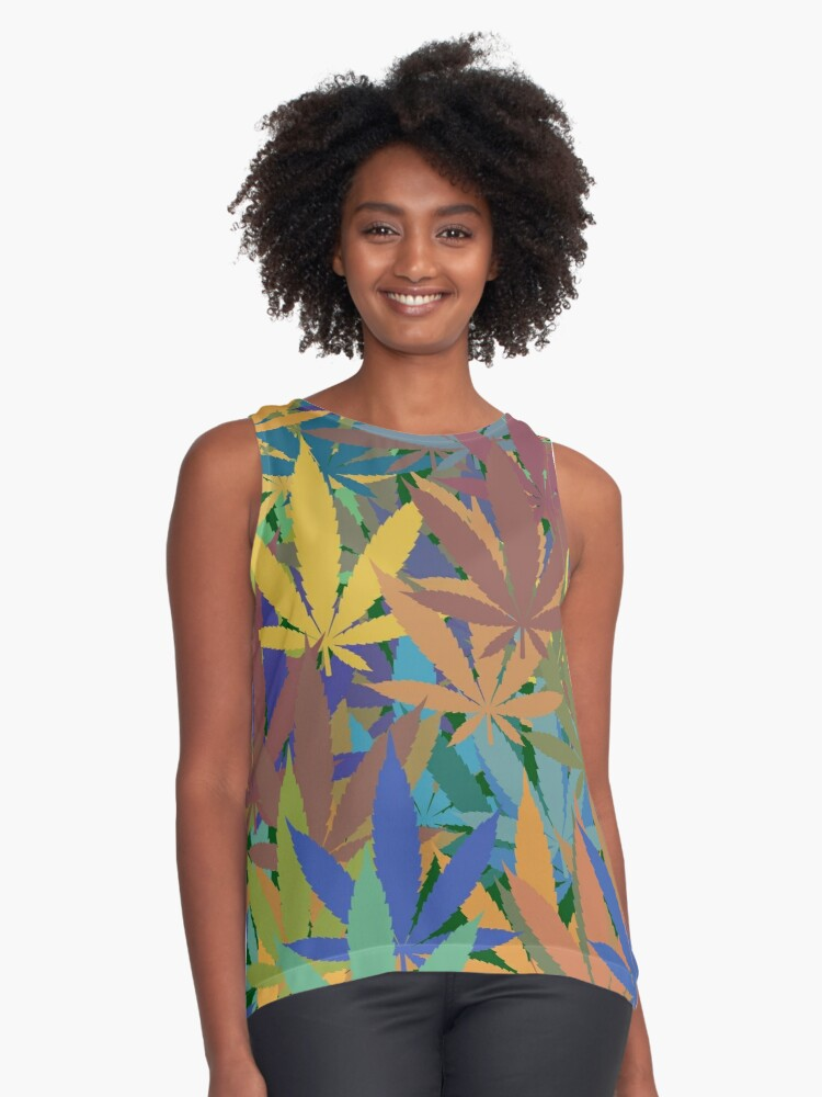 Marijuana Cannabis Weed Pot Abstract Contrast Tank Front