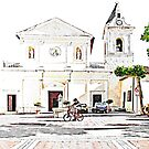 Child cycling in the square of the church of Tortora by Giuseppe Cocco